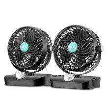 12V/24V 360 Grad Alle-Runde Einstellbare Auto Luftkühlung Dual Kopf Clip Fan Geräuscharm auto Auto Kühler Air Fan Auto Fan Zubehör