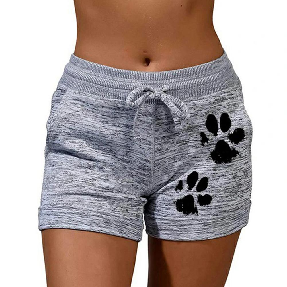 2020 woman shorts Women High Waist Cats Claw Print Drawstring Quick Dry Elastic Sports Shorts Women's Clothing женские шорты