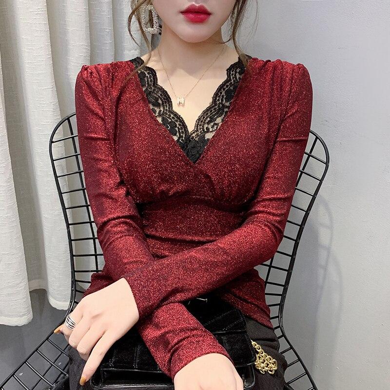 ¡Novedad de 2020! Ropa Coreana de primavera y otoño, camiseta sexi de retales con encaje brillante, camisetas para Mujer, Ropa para Mujer, camiseta ajustada T9D007