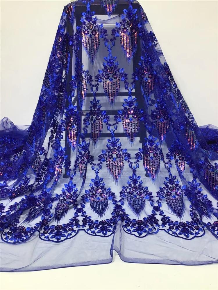 2021 الكلاسيكية الترتر أحدث لينة الفاخرة التطريز أنيقة الأفريقي تول الدانتيل النسيج لفستان الزفاف NN525_K Royalblue