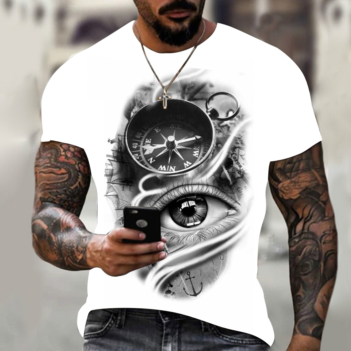 Фото - Summer hot sale fashion handsome compass 3D printing T-shirt hip-hop style men's T-shirt O-neck oversized T-shirt top xxs-6xl 2021 latest hot sale 3d cartoon print short sleeved t shirt harajuku t shirt 110 xxs 6xl