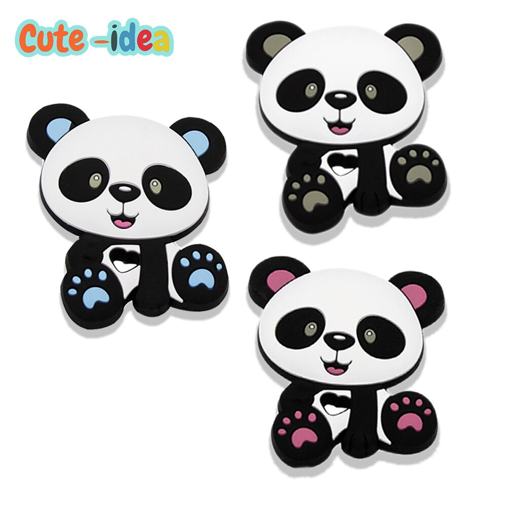Cute-idea 1PC Baby Cartoon Animal Silicone Panda Teether Food Grade Baby Teething goods DIY Pacifier Chain Toys Accessories недорого