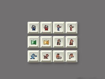 12 keys/set Pixel image personality key cap PBT dye sublimation keycap for MX switch XDA profile