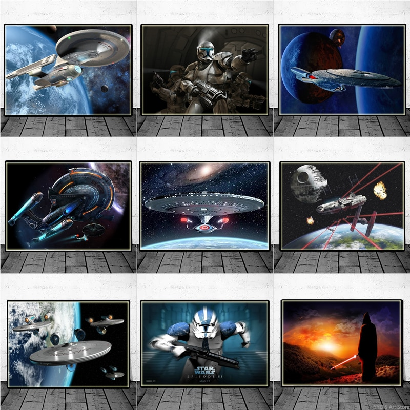 Плакаты из аниме «Звездные войны», Звездные войны, космический корабль, штурмовик, милленистовый Сокол, бойцов, Картина на холсте, Настенный...