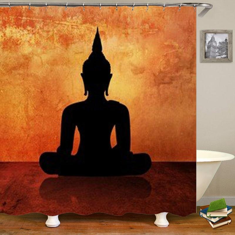 Novelty Buddha Silhouette Painting Waterproof Shower Curtain Set Retro Vintage Buddha Zen Serenity Bathroom Curtains Calm Peace