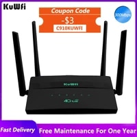 kuwfi 4g wifi router 300mbps wireless lte router with sim card slot support 32 wifi users rj45 port four external antennas
