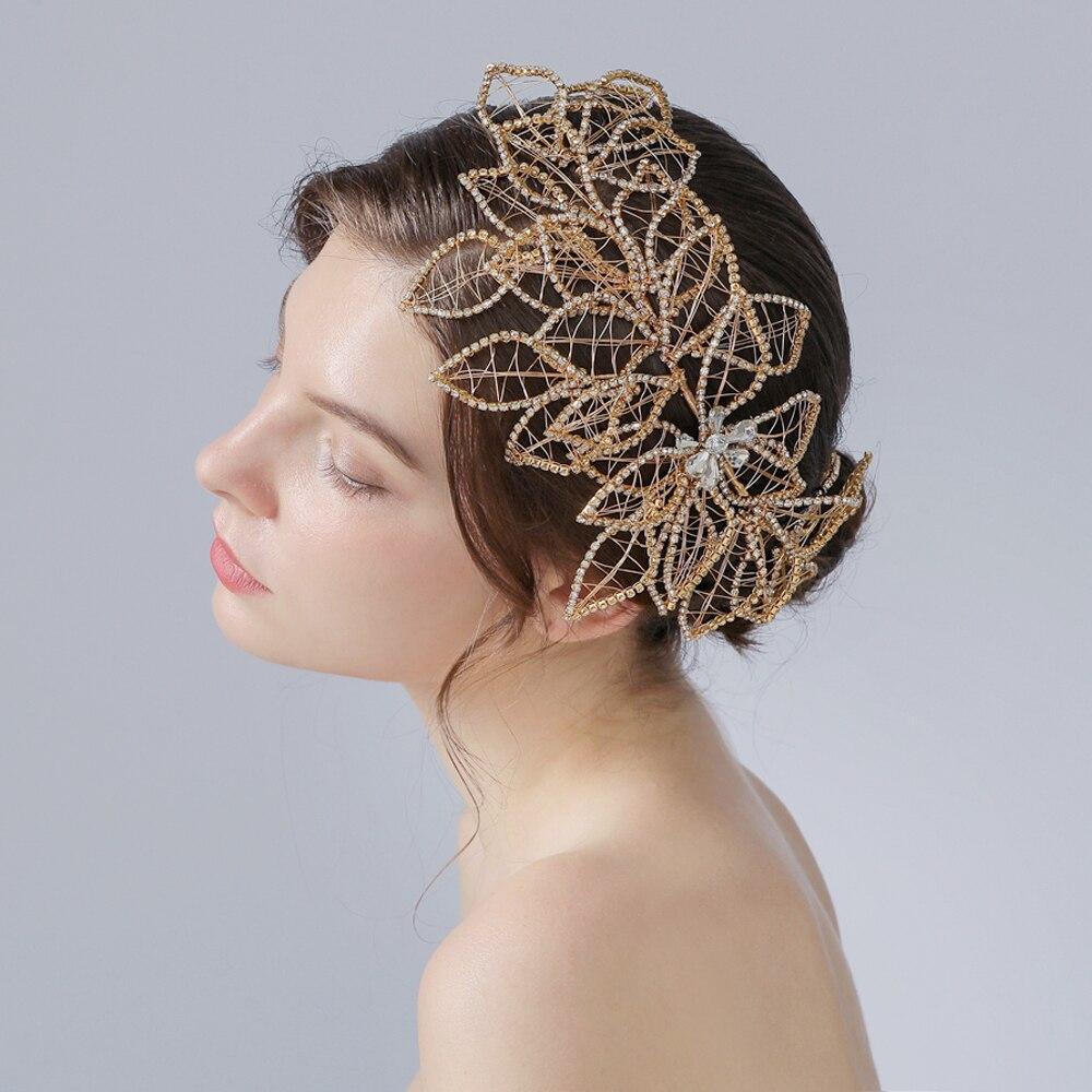 Цветочная Свадебная бижутерия для волос с бриллиантами