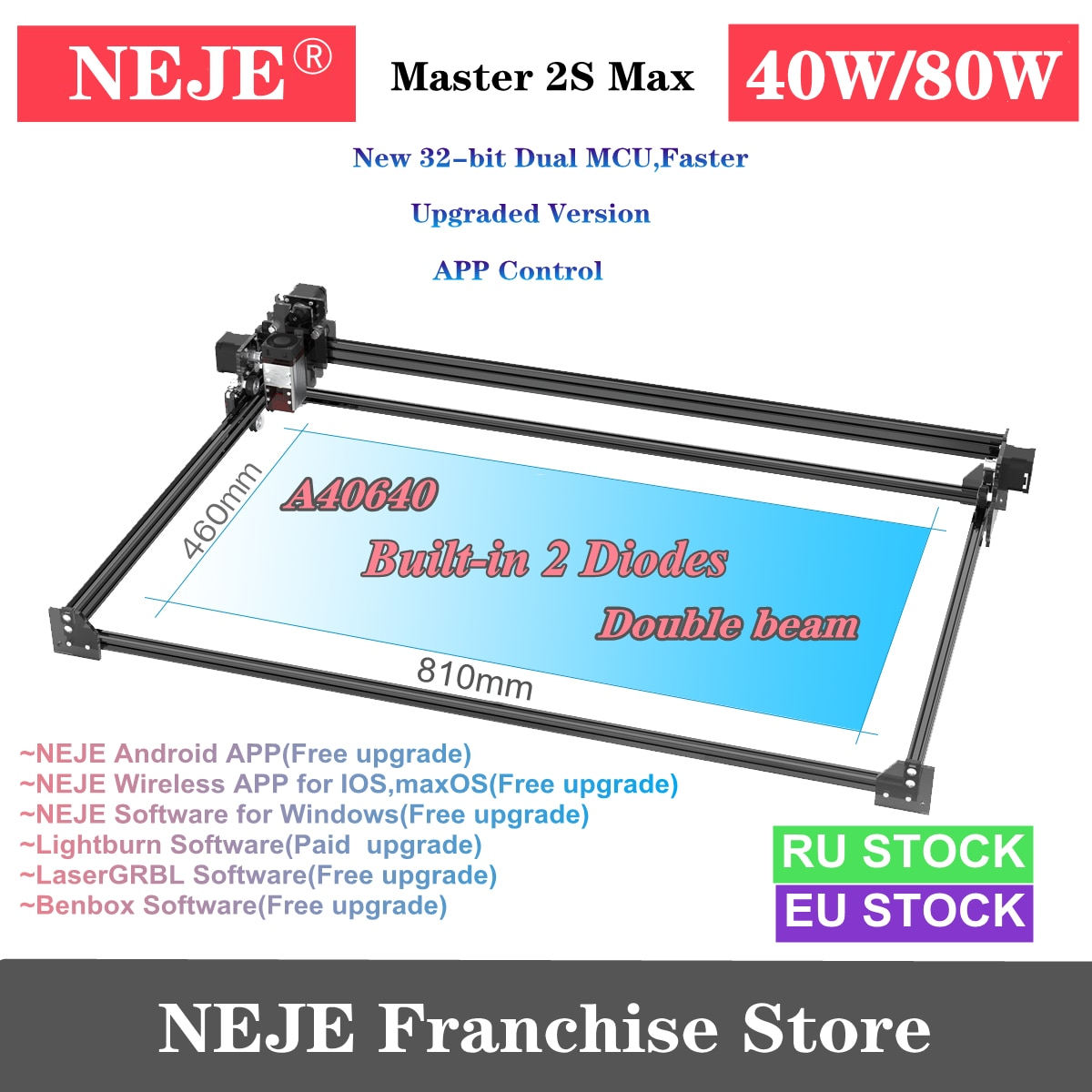 NEJE Master 2S Max 80W/40W CNC Laser Engraver Cutter Wood Cutting Engraving Machine with 2 Diodes Bluetooth -Lightburn-LaserGRBL neje master 2s max 80w cnc double beam laser engraver cutter engraving cutting machine bluetooth lasergrbl lightburn 460x810mm
