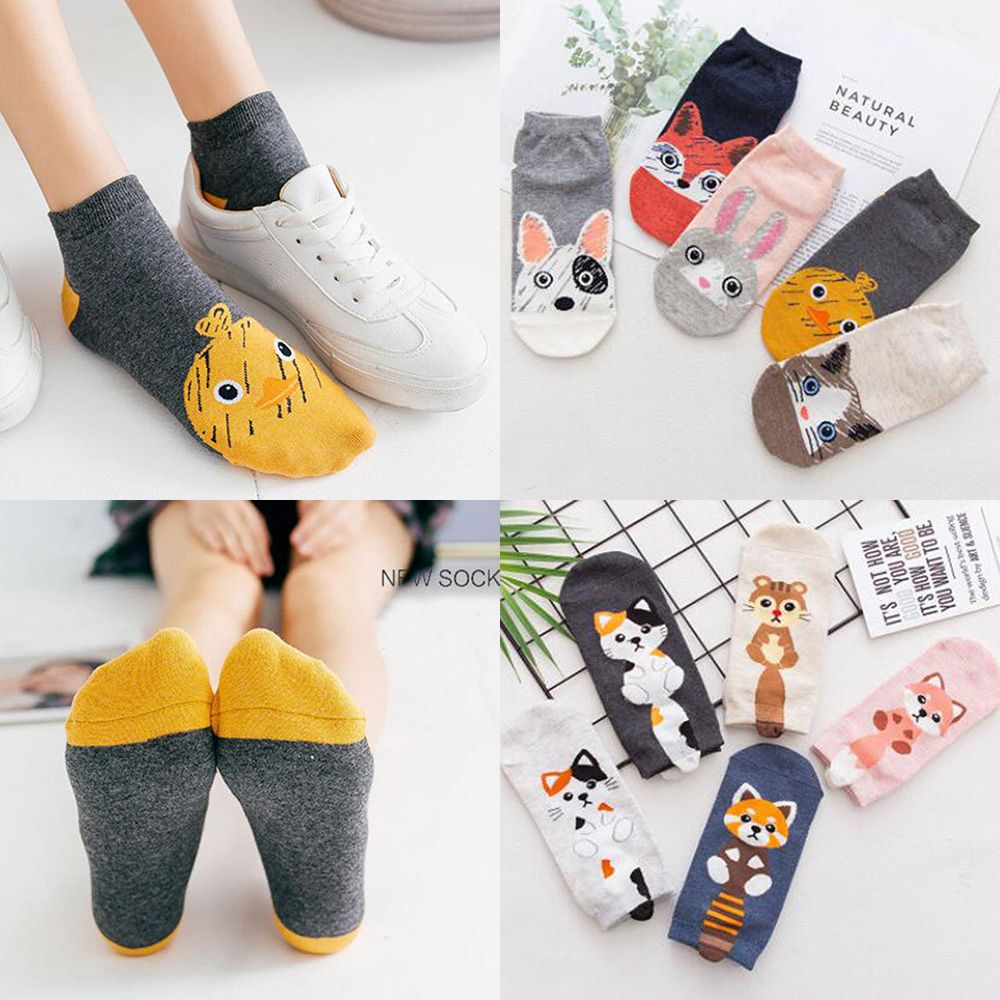 5Pairs/set Male and Female Cartoon Cotton Socks Animal Socks Civet Cat Fox Women Socks Ankle Invisible Socks for Girls Cute Gift