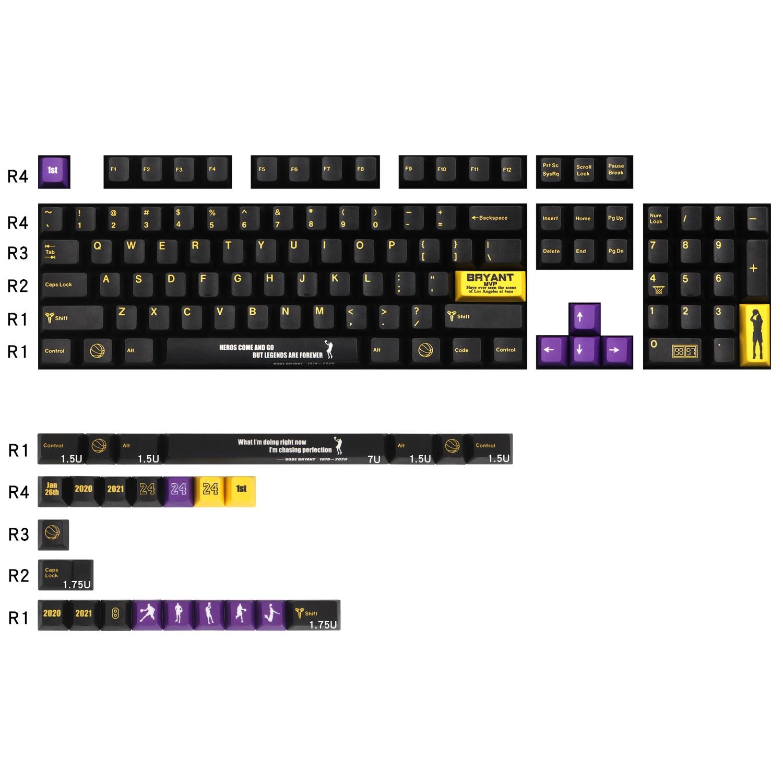 1 مجموعة الذهب الأسود PBT صبغ غطاء مفتاح Subbed ل MX التبديل الميكانيكية لوحة المفاتيح الكرز الشخصي كيكابس ل 87 الكرز 3000 68 Filco 104
