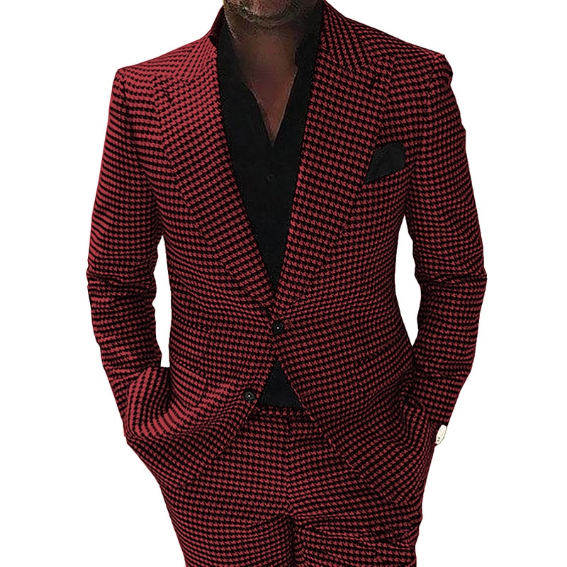 Men's Houndstooth Suits Formal Notch Lapel Wool/Tweed Tuxedo For Wedding Prom Blazer Best Man Suits 2 Pieces (Blazer+Pants) notch collar pleated panel blazer