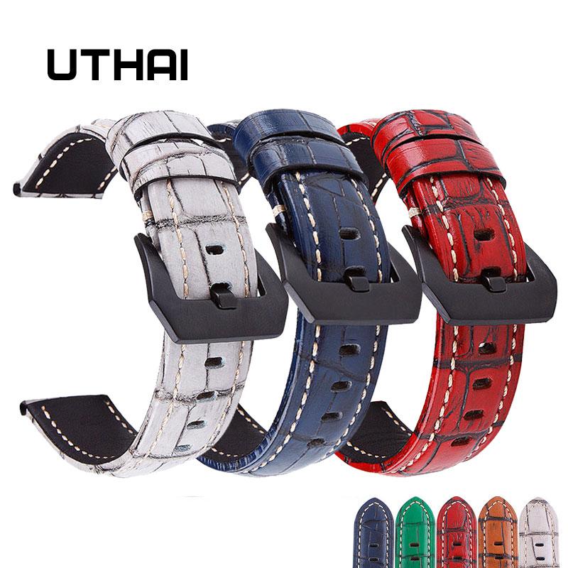 UTHAI P17 Echtes Leder Straps 20mm 22mm 24mm 26mm Klassische retro armband