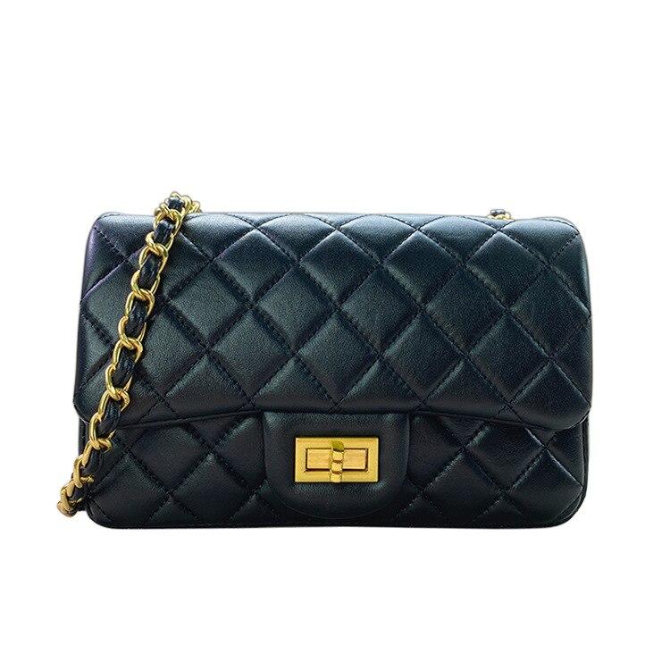 2021 جديد العلامة التجارية مصمم المرأة حقيبة يد الماس شعرية جلد طبيعي رفرف سلسلة حقيبة كتف محفظة عالية الجودة