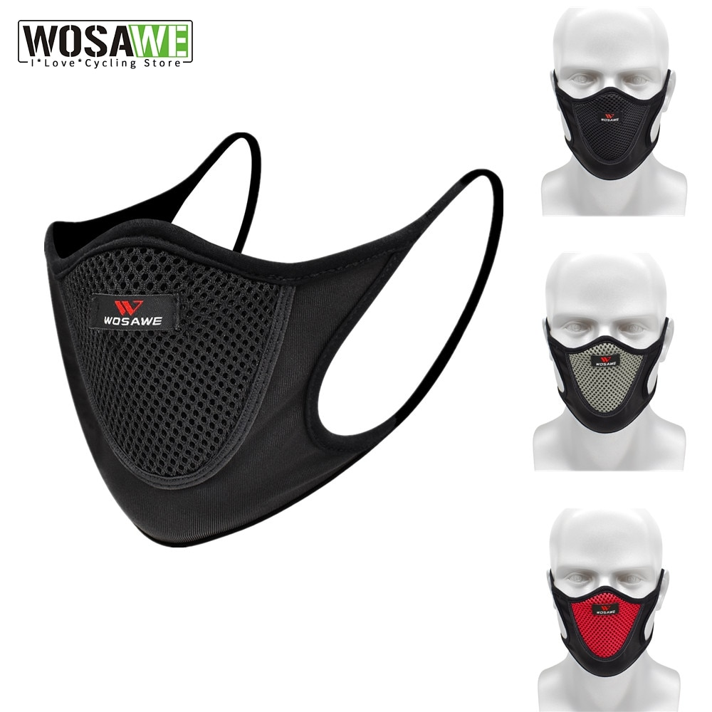 WOSAWE Cycling Face Mask Dust Mask Running Windproof Air Purifying Face Mask With Filter Anti-Pollution Washable MTB Bike Mask