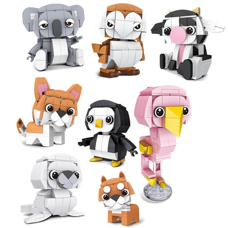 8Pcs Lovely Animals Cute Corgi Doge Puppy Moc Dog Bird Koala Seals Owl Penguin Flamingos Cow Building Blocks Bricks Kids Toys
