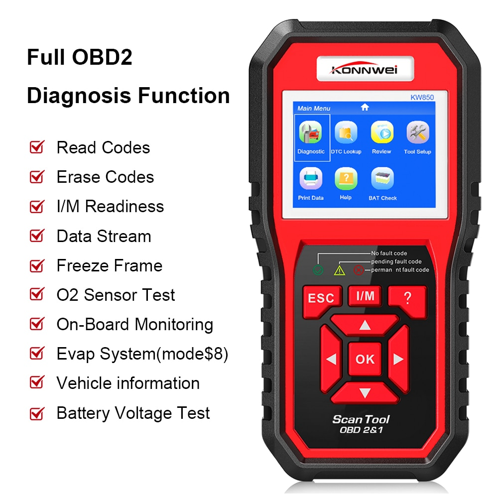2020 Best Obd 2 Auto Scanner Obd2 Scanner Konnwei Kw850 Full Odb2 Scanner Ebay