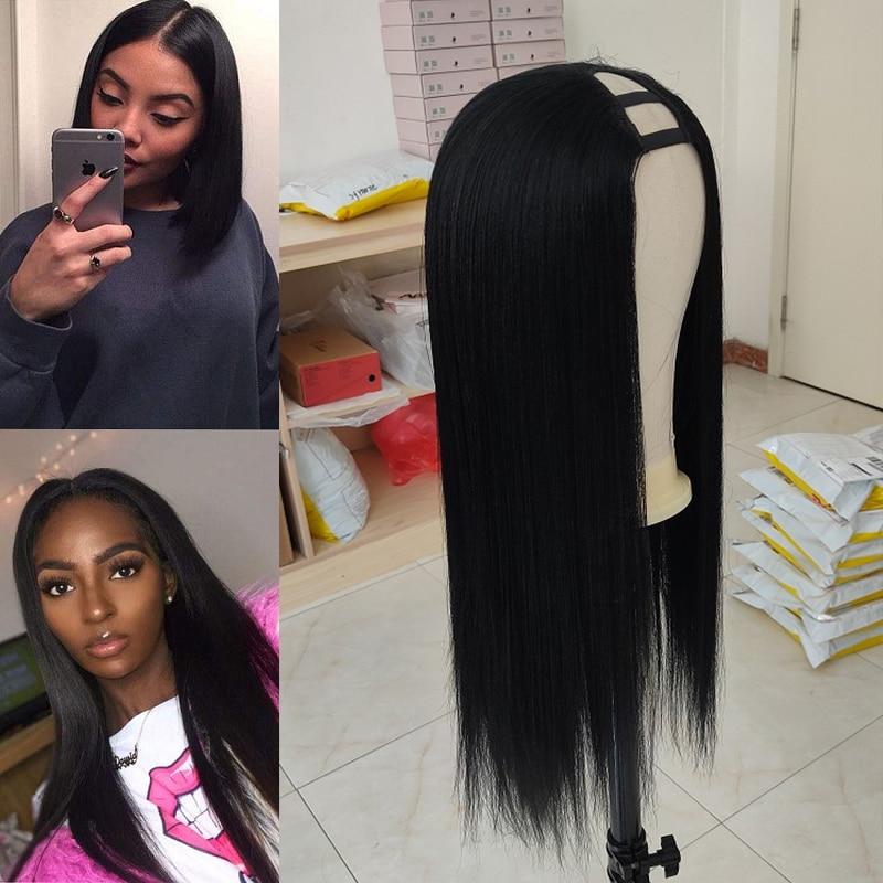 U Part Wig Human Hair Yaki Human Hair Wig Brazilian Virgin Yaki Straight 180% Density Glueless Hair Wig Pre Plucked For Women