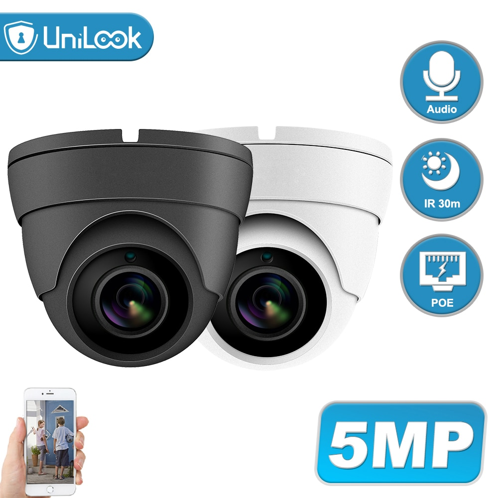 AliExpress - UniLook POE 5MP Security IP Camera Outdoor Built-in Mic CCTV Surveillance Hikvision Compatible IR 30m H.265 Mini Dome P2P View
