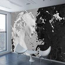 Personnalisé noir blanc lait amant Photo fonds décran pour mur 3 d salon chambre boutique Bar café murs peintures murales rouleau Papel De Parede