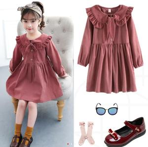 Spring Autumn Children Long-Sleeved Princess Dress For Girls Corduroy Ball Gown Peter Pan Collor Dresses 4 5 6 7 10 12 Years old