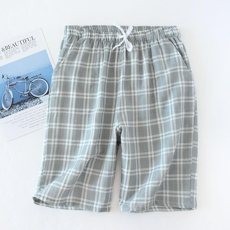 Мужские хлопок марля сна низ плед трикотаж пижама брюки свободные одежда для сна гостиная одежда брюки мужские резинка лента пижама шорты +% 23