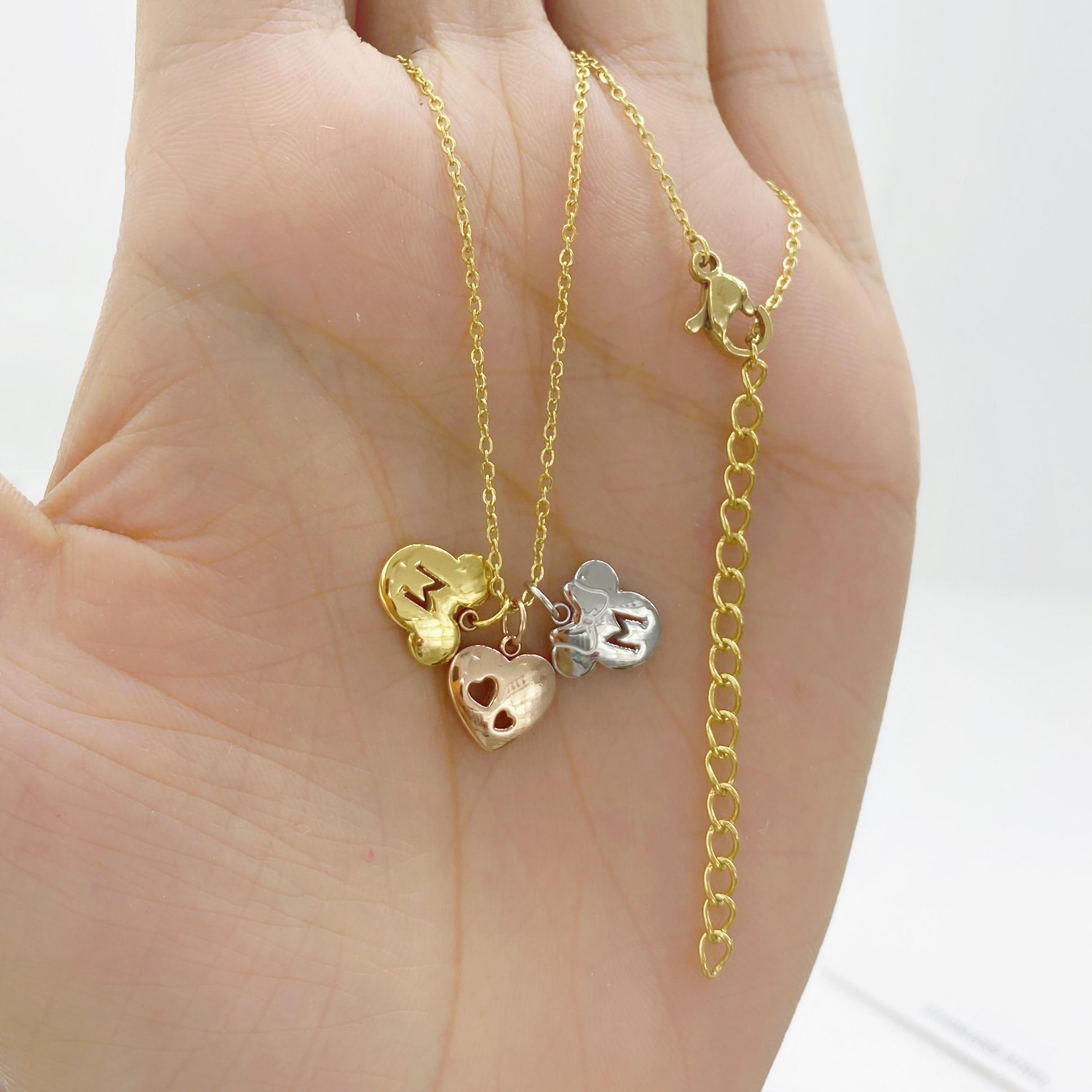 Collar con colgante de Mickey Minnie de acero y titanio Color oro rosa encantador, joyería de acero inoxidable 316L a la moda para mujer