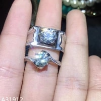 kjjeaxcmy fine jewelry 925 sterling silver mossex diamond boys and ladies couple rings support test strip