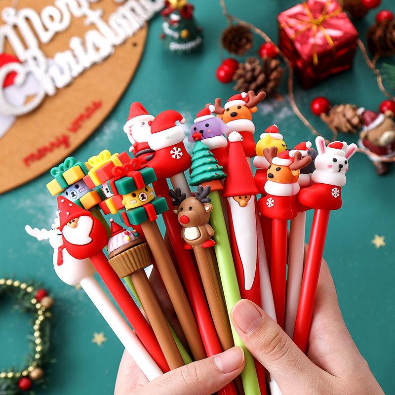 1 шт. рождественский подарок, ручка для студентов, милая Женская рождественская серия, нейтральная ручка, креативная черная ручка для гелево...