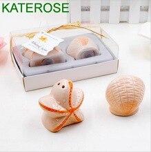 6 juegos exquisitos de cerámica conchas marinas y estrellas de mar saleros y pimentero playa recuerdos de boda temáticos fiesta obsequios para invitados