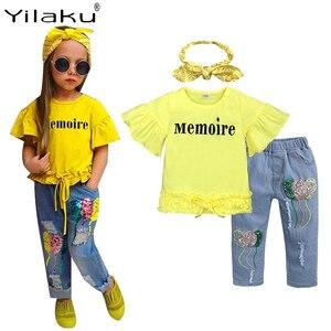 Yilaku Baby Girl Clothes Summer Girl Clothes Sets 3 Pcs T-shirt + Pants + Handband Trumpet Sleeve Children's Clothing Sets YY055