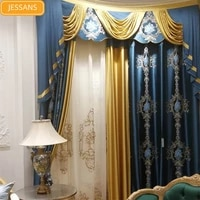 european high end imitation silk jacquard stitching blackout curtains for bedroom living room finished custom screen valance