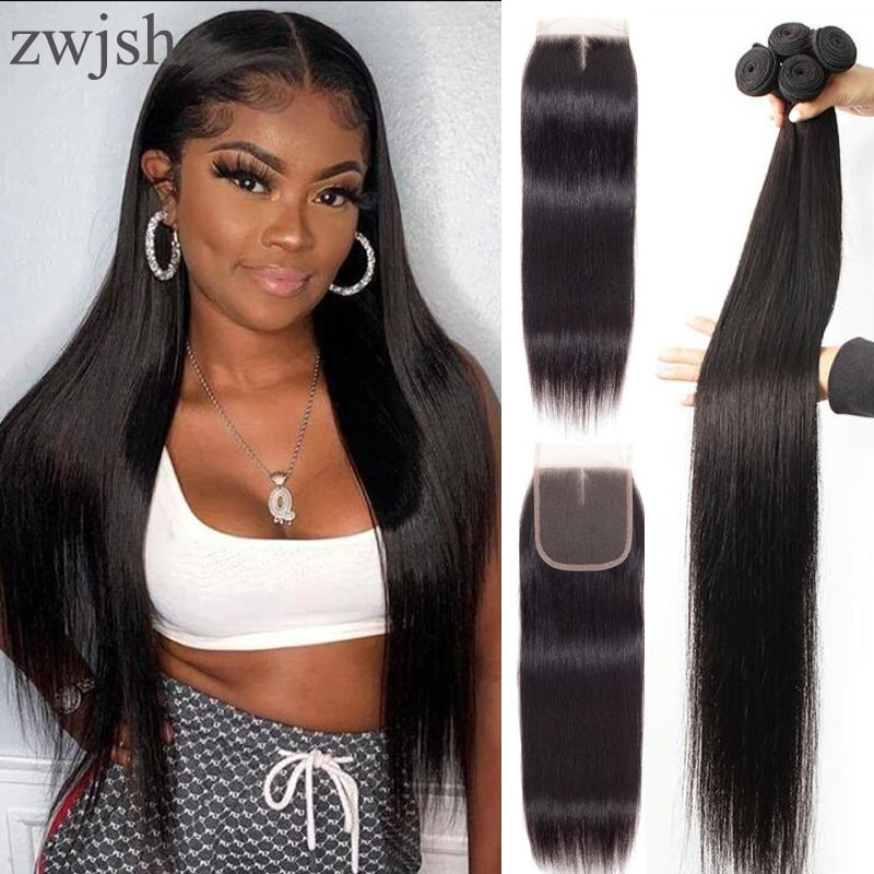 Zwjsh Peruvian Straight Hair 3 Bundles with Closure 100% Unprocessed Human Hair Bundles with Frontal Thick Hair Extension
