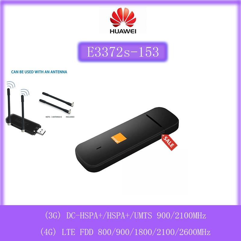 مقفلة هواوي E3372 E3372s-153 150 150mpbs 4G LTE USB دونغل مع 2 قطعة 4g CRC9 هوائي