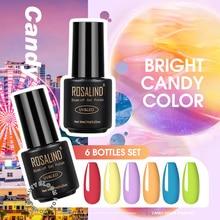 ROSALIND 6PCS/Set Gel Nail Kit All For Manicure Nails Art Design Pure Color Gel Lacquer Soak Off Sem