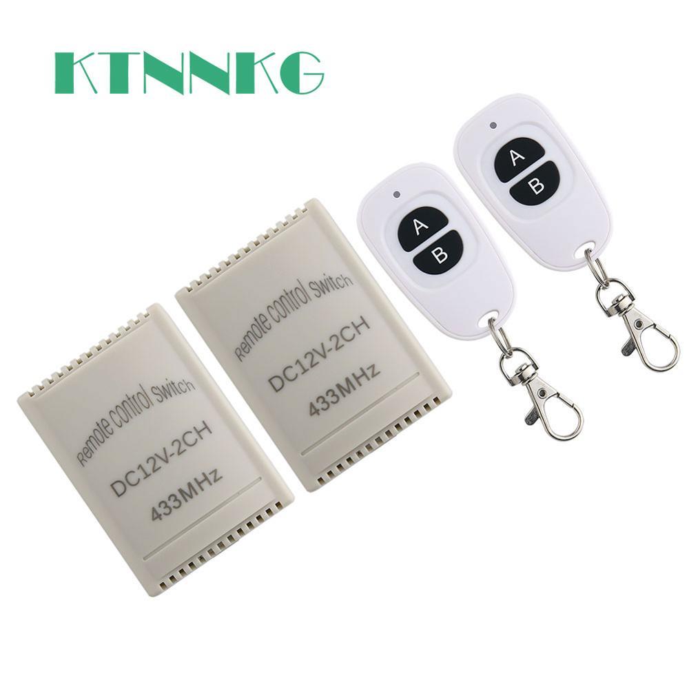 KTNNKG 433Mhz DC 12V interruptor de Control remoto inalámbrico Universal 2 CH módulo receptor por relé para el hogar inteligente con 1/2/4 conjuntos RF