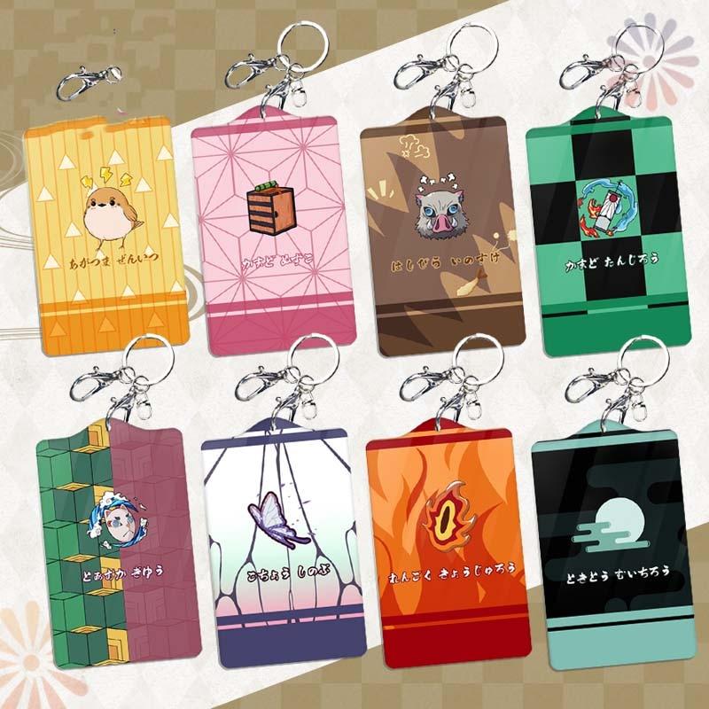 Anime Demon Slayer: Kimetsu no Yaiba Kamado Tanjirou Cospaly Student Bus Pass Business Card Holder Keychain Case Acrylic Cards