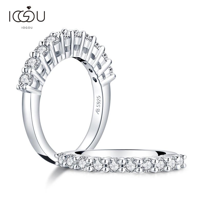 IOGOU كلاسيكي حقيقي D اللون 2.8 مللي متر مويسانيتي الماس الزفاف نصف الفرقة خواتم للنساء 100% 925 فضة خاتم زفاف