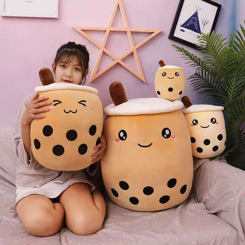 cute soft cartoon bubble tea cup plush toys filled with fashionable drinks pillow straw cute cushion milk tea cup pillow plush Simulation Milk Tea Plush toy Cup Pillow Cute Doll pearl milk tea cup cushion creative decoration gift for girlfriend