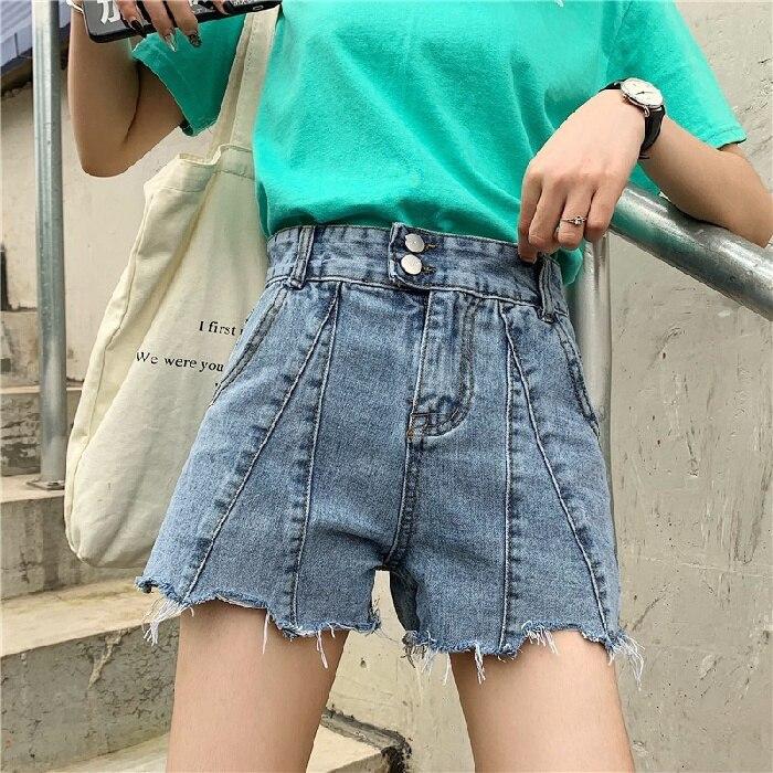 Women's Denim Shorts New High Waist 2021 Korean Style Slim Loose Summer Outdoor Wear A- Line Wide-Le