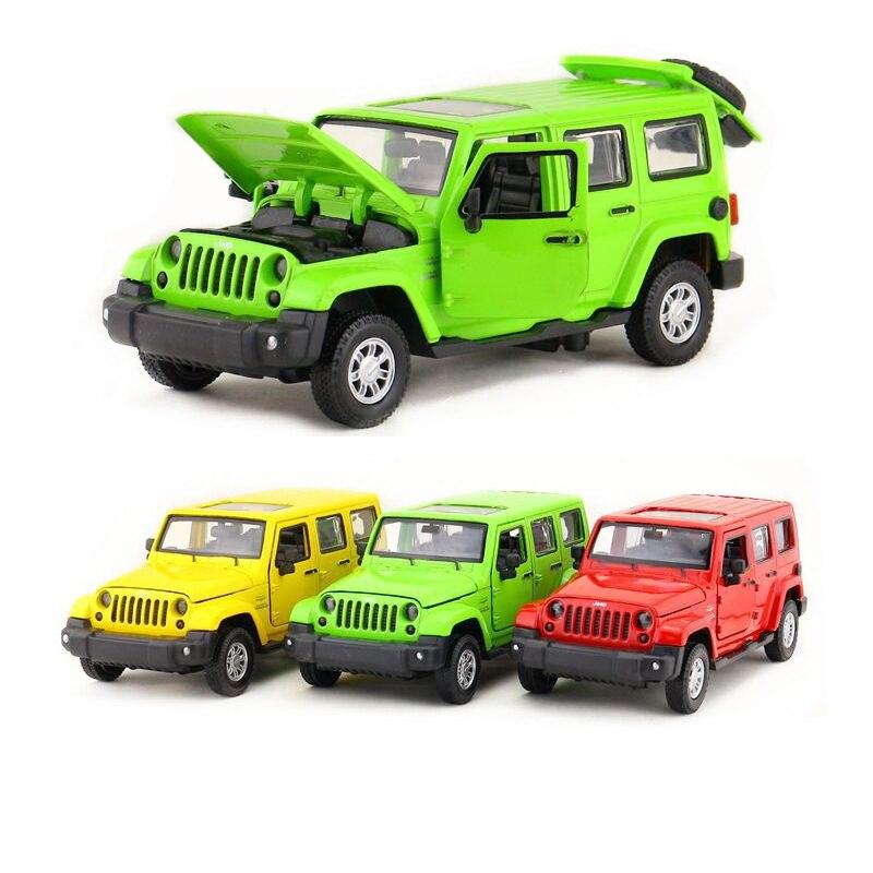 Escala 132/simulación de juguete en miniatura moldeado a presión coche/SUV Jeep Wrangler Sport/Sonido y luz/tirar hacia atrás/Colección educativa/REGALO/chico