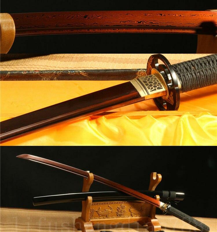 IRON TSUBA DAMASCUS FOLDED STEEL RED HANDMADE JAPANESE SAMURAI SWORD KATANA