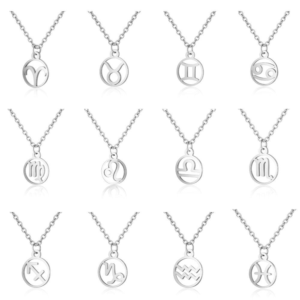 Round Coin 12 Zodiac Sign Titanium Steel Pendant Necklace High Polish Chain Necklace Virgo Scorpio Women Men Jewelry