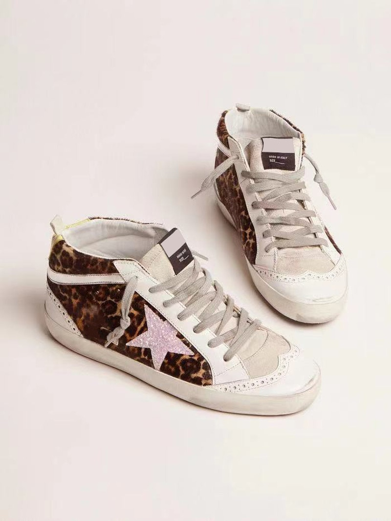 Autumn  Parent-child Shoes First Layer Cowhide Retro Old Fashion Small Dirty Leopard Print High-top Casual Children's Shoes QZ83 enlarge