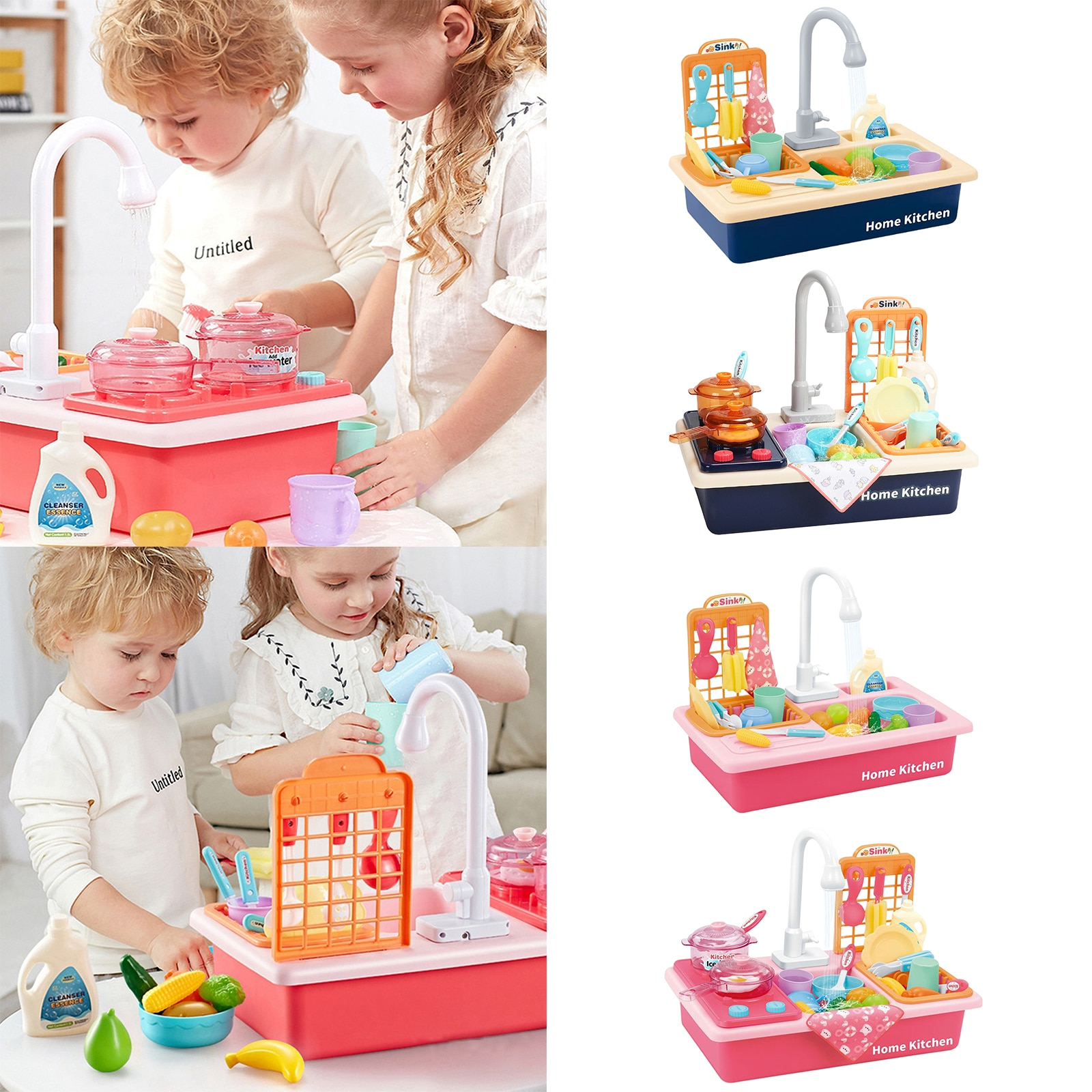 Kitchen Sink Toys Children Electric Dishwasher Playing Toy Sink Playset with Running Water House Pretend Role Play Toys недорого