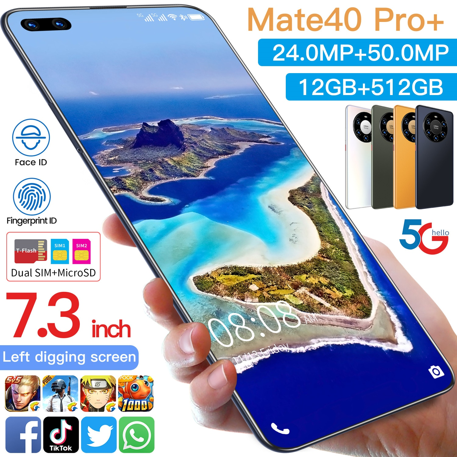 Global Version Mate40pro+ 7.3 Inch Smartphone Andriod 10.0 Face ID Mobile Phone MTK6889 Double SIM C