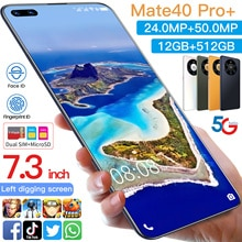 Smartphone Mate40 pro+ 7.3 Inch Andriod10.0 12+512G Face ID Mobile Phone MTK6889 Double SIM Card Glo