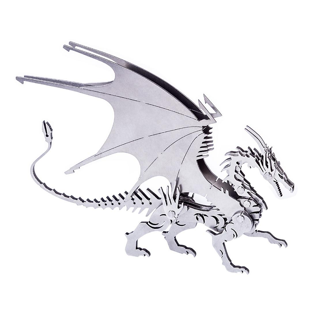 Rompecabezas de acero inoxidable 3D DIY montado dragón desmontable modelo pequeño adornos decoración del hogar niños regalos de navidad 2019