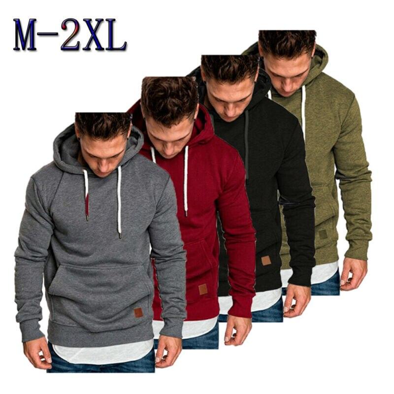Sudaderas de Color sólido para Hombre Sudaderas rapero Hip Hop Sudadera con capucha pulóver ropa masculina para deportes al aire libre correr