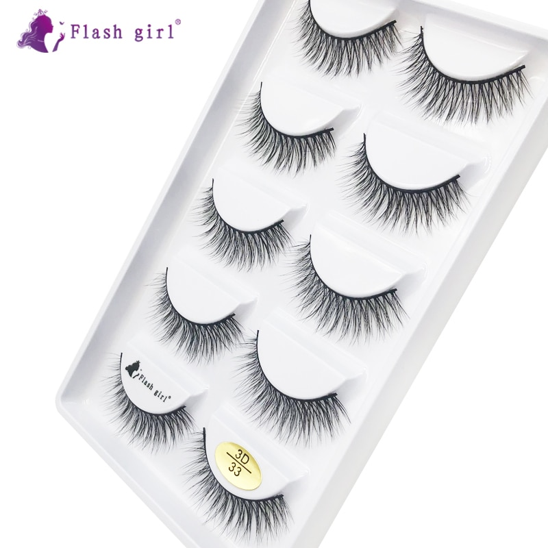 Flash Girl 3D Mink Eyelashes 3D-33 Natural Long Wispy Lashes Handmade Cruelty Free Fake Eyelash Make