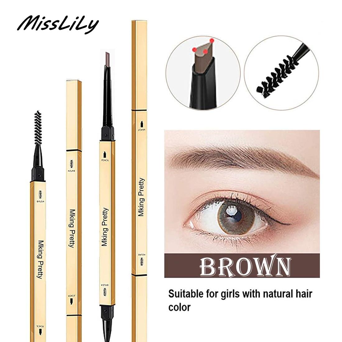 Double Head Eyebrow Pencil Long Lasting Waterproof 5 Colors Ultra Fine Triangle Eye Brow Pen Tint Mascara Enhance Cosmetics